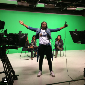 Janelle Patillo floor directing at Bear TV Studio 1.